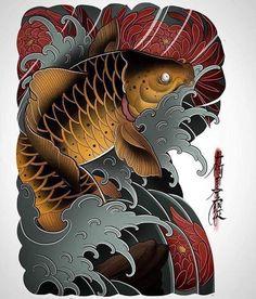 Koi and chrysanthemums Samurai Tattoo, Yakuza Tattoo, Samurai Art, Koi Tattoo Design, Japan Tattoo Design, Japanese Design, Japanese Art, Chinese Tattoo Designs, Koi Fish Tattoo