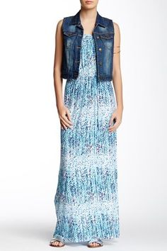 Printed Strapless Maxi Dress