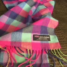 Uni-Sex 100% Cashmere Scarf with Fringe Made in Scotland Purple Blue Pink Plaid