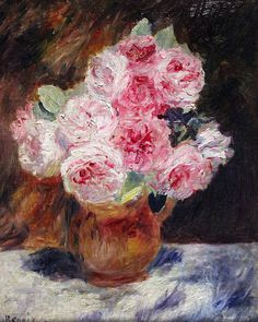 Pierre Auguste Renoir Roses in a vase 1878 I love how he made everything look so dreamy.