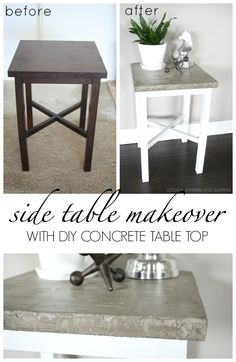 Side Table Makeover using chalky paint and DIY concrete table top Side Table Makeover, Kitchen Table Makeover, Furniture Projects, Furniture Makeover, Diy Furniture, Furniture Outlet, Furniture Plans, Painted Furniture, Concrete Table Top