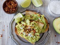 Classic Avocado Toast : What You'll Need:1 ripe avocado + 1/2 lime + 2 slices crusty toasted bread + sea salt + crushed red pepper flakes  What to Do:Cut avocado in half and remove the seed. Squeeze lime juice in each half of the avocado. Mash in its shell and spread over both slices of toast. Sprinkle on desired amount of sea salt and crushed red pepper flakes.