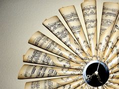 From Shannybeebo's shop on etsy —  Vintage Sheet Music Clock