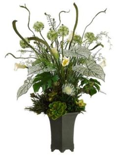 You'll add a dramatic touch to your décor with this large, graceful floral arrangement. Protea, echeveria, ferns, and philodendron leaves are artfully arranged Large Flower Arrangements, Artificial Floral Arrangements, Dried Flower Arrangements, Large Flowers, Floral Centerpieces, Faux Flowers, Artificial Flowers, Silk Flowers, Church Flowers