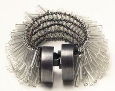 Art Jewelry, Karen Gilbert,   untitled  bracelet, sterling silver, pyrex, glass beads, 2006, photograph - Amy Fronczkiewicz