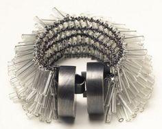 Art Jewelry, Karen Gilbert,   untitled  bracelet, sterling silver, pyrex, glass beads, 2006, photograph - Amy Fronczkiewicz