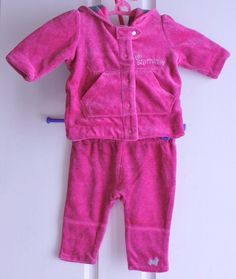 BABY GIRLS RUN SCOTTY RUN VELOUR JACKET & PANTS SIZE 000 PINK WARM EXC HTF RP$90 #RUNSCOTTYRUN