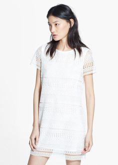 MANGO | Geometric-pattern openwork dress