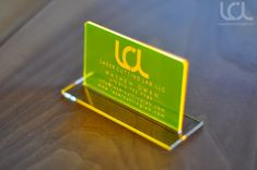 Laser Engraved Fluorescent Yellow Acrylic Business Cards