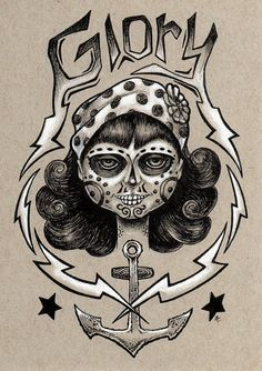 Glory original tattoo style dia de los muertos pen by bryancollins (Art & Collectibles, Drawing & Illustration, skull, lowbrow, drawing, prismacolor, dark, outsider, punk, rockabilly, pop, bandana, girl, female, pinup)