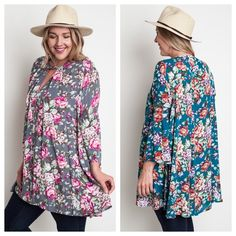 We love these plus floral tunics! Perfect transitional outfit! //Plus Floral Tunic $40  Comment below with PayPal to purchase and ship or comment for 24 hour hold  #repurposeboutique#loverepurpose#hipandtrendy#shoprepurpose#boutiquelove#falltransition#style#trendy#fall#floral#tunic