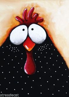 ACEO-Print-Folk-Art-illustration-whimsical-bird-painting-chicken-pox