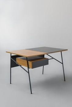 Available for sale from Galerie Pascal Cuisinier, André Monpoix, Desk 204 (1954), Elm, lacquered metal and laminate, 75 × 121 × 55 cm #Tables