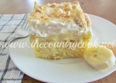 The Country Cook: Banana Pudding Poke Cake  Try this with a gluten free cake mix.