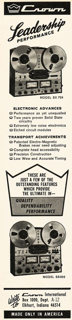 Reel to Reel Tape Recorder Manufacturers - Crown Audio, Inc. - Museum of Magnetic Sound Recording Crown Audio, Professional Audio, Tape Recorder, Museum, Ads, Collection, Advertising, Museums