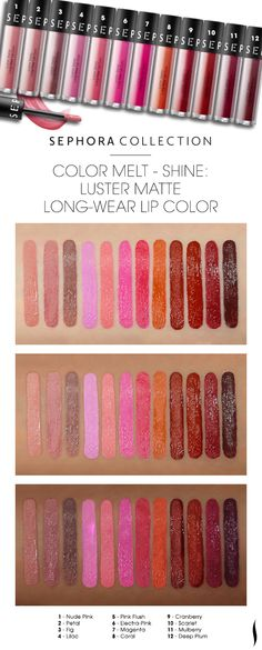 We swatched the shade range of Sephora Collection Luster Matte Long-Wear Lip Color on various skintones.