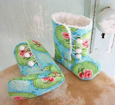 Sewing Secrets: 10 Cutest Baby Shoe Patterns Ever, connects to Coats & Clark sewing; boots on Etsy Winter Peach shop or try DIY