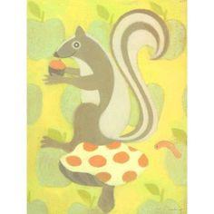 Oopsy Daisy - Clover Squirrel Canvas Wall Art 18x24, Sally Bennett