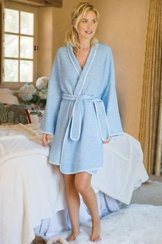 Our Blanket Stitch Robe features hand-sewn blanket stitching which neatly borders the shawl collar. An easy, self-belt makes this robe the first thing you'll want to reach for post bath/shower.