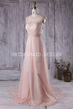 beautiful beaded cap sleeve illusion soft pink chiffon bridesmaid dress