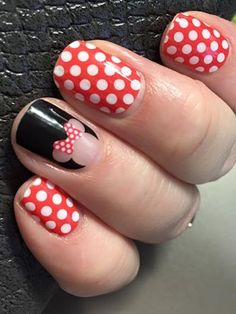 These are so fun together! This is Mickey's Girl from the Disney Collection by Jamberry with the soon to be retired Poppy and White Polka (retiring on Feb. 29). Get more details about both at: https://redheadmanicures.jamberry.com/us/en/
