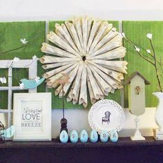 Love all the little things in this Spring.Easter mantel/shelf!    pink petunia pearl