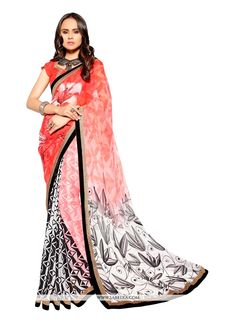 This multi colour faux georgette casual saree is including the appealing glamorous showing the feel of cute and graceful. The ethnic print work at the apparel adds a sign of splendor statement for you...