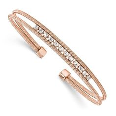 Leslie's Sterling Silver Rhodium-plated Rose Gold-plated CZ Woven Cuff STYLE: QLF742