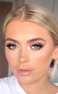 Wedding Eye Makeup, Bridal Makeup Looks, Natural Makeup Looks, Wedding Hair And Makeup, Bridal Makeup For Blue Eyes Blonde Hair, Bridesmaid Makeup Blue Eyes, Bridal Makeup For Blondes, Glam Makeup Look, Bridesmaid Makeup Natural