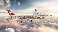 Swiss International Air Lines' Flower Power airplane Airplane Design, Airplane Art, Aviation Humor, Aviation Art, Civil Aviation, Images Graffiti, Airplane Humor, Helicopter Cockpit, Pilot Humor
