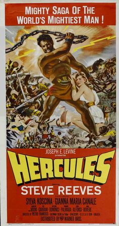 HERCULES is a Cinema Trash Classic with Steve Reeves as the legendary strong man of greek mythology. Old Movie Posters, Classic Movie Posters, Cinema Posters, Original Movie Posters, Movie Poster Art, Classic Films, Old Movies, Vintage Movies, Great Movies