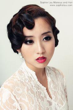 Asian bridal makeup Asian wedding makeup Bridal hair style - too much? Asian Wedding Makeup, Dramatic Wedding Makeup, Dramatic Eye Makeup, Asian Makeup, Wedding Hair And Makeup, Bridal Hair, Hair Makeup, Bridal Beauty, Vintage Hairstyles