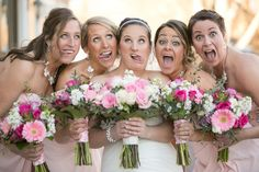 Bridal Party, funny faces, pink and white bouquets  greenwood_wedding_photography_bekah&josh_05
