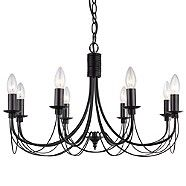 Litecraft Somerset 8 Black light chandeliers- | Debenhams