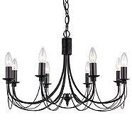 Litecraft Somerset 8 Black light chandeliers- | Debenhams