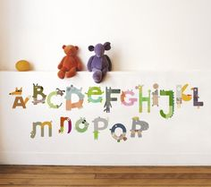 Cute alphabet decals for a playroom, peel and stick! Animals Alphabet Wall Decal (aff link)