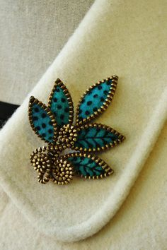 Felt and zipper multi leaf brooch ❤ by woollyfabulous on Etsy