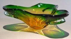 Murano Style Green & Gold Art Glass Centerpiece Bowl by TREASUREHUNTVENTURA on Etsy
