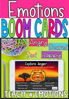 Teach students about identifying feelings and emotions with these social emotional learning digital task cards. Four different emotions (angry, sad, happy, scared) are taught using animals. Students can choose to explore the emotions and learn about them and then practice their emotional skills by identifying how the animal looks (which emotion is being expressed) and scenarios that cause different emotions. #socialemotionallearning #elementaryschoolcounseling
