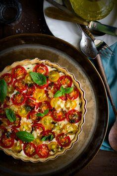 Tomato Goat Cheese & Basil Pesto Tart