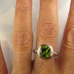 Peridot Ring  18k Gold and Sterling Silver  Made by JanishJewels, $179.00