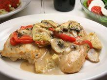 Kip met champignonroomsaus en artisjok