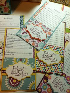 These are swaps I made for Convention! 2012-2013 Catalog Index and Wish List Cards in folders!