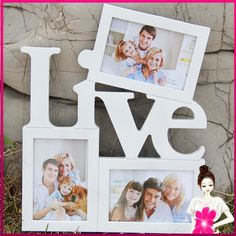 Love and Live Choose One Wooden Photo Frame White Base DIY Picture Frame Art Decor 3 Boxes Handmade Irregular Family Photo Frame