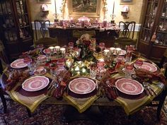 Christmas Table Setting - I can't wait to do this with my Spode and Masonware!