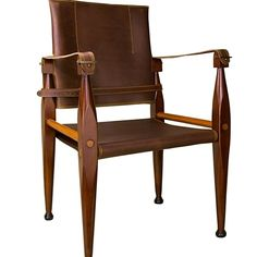 """$579 each Bridle Leather Campaign Chair 35"""" Wooden British Officer's Camp Furniture"""