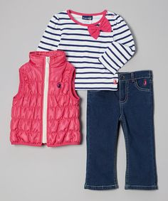 Hot Pink & Navy Puffer Vest Set - Infant & Toddler by Rugged Bear on #zulily #ad *Cute
