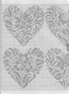 lots of cross stitch, many Renato Parolin Cross Stitch Fruit, Cross Stitch Heart, Embroidery Hearts, Cross Stitch Embroidery, Wedding Cross Stitch Patterns, Crochet Chart, Filet Crochet, Knitting Charts, Back Stitch