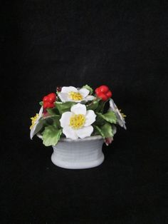 Aynsley December Christmas Rose Flower Hand Crafted Bone China Bouquet England