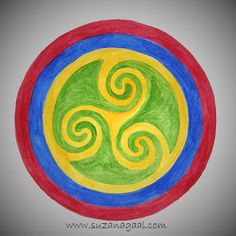 'Triskele Labyrinth' Celtic Watercolour Mandala by Suzana Gaal #100Mandalas